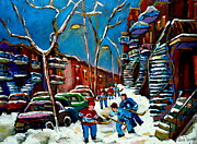 Montreal Winterscenes Art - Hockey Game On De Bullion Montreal City Scene by Carole Spandau