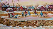 Hockey Painting Prints - Hockey Game-outdoor Hockey -beautiful Canadian Winter Landscape-hockey Heroes-carole Spandau Print by Carole Spandau