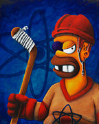 Hockey Paintings - Hockey Homer by Marlon Huynh