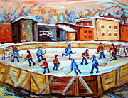 Hockey Painting Posters - Hockey In The City Outdoor Hockey Rink Montreal Memories Winter City Scenes Painting Carole Spandau  Poster by Carole Spandau