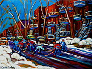 Hockey Scenes Paintings - Hockey On De Bullion Montreal by Carole Spandau