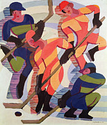 Hockey Game Paintings - Hockey Players by Ernst Ludwig Kirchner
