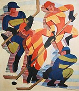Winter Sports Paintings - Hockey  Players by Pg Reproductions