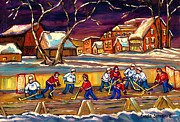 School Houses Painting Posters - Hockey Practice In The Village Canadian Winter Night Scene Quebec Landscape Carole Spandau Poster by Carole Spandau