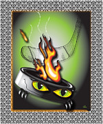 Pucks Posters - Hockey Puck in Flames Poster by Danise Abbott