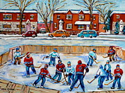 Afterschool Hockey Painting Prints - Hockey Rink At Van Horne Montreal Print by Carole Spandau