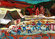 Winter Scenes Rural Scenes Framed Prints - Hockey Rinks In The Country Framed Print by Carole Spandau