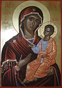 Byzantine Painting Originals - Hodegitria Mother of God Icon by Peter Murphy