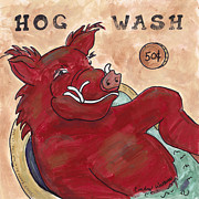 Razorbacks Painting Prints - Hog Wash Print by Cindy Watkins