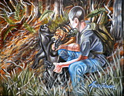 Hiker Paintings - Hogdog and Hunter by Monica Turner