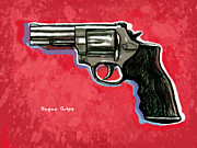 Memory Mixed Media - Hogue Grips hang gun - stylised art drawing sketch by Kim Wang