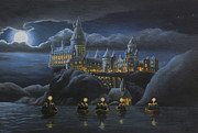 Potter Framed Prints - Hogwarts at Night Framed Print by Karen Coombes