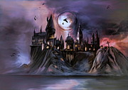 Castle Illustration Framed Prints - Hogwarts Castle... Framed Print by Andrzej  Szczerski