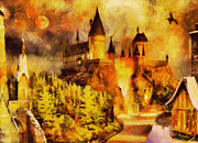 Surreal Landscape Painting Metal Prints - Hogwarts college Metal Print by George Rossidis