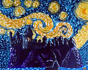 Geek Painting Posters - Hogwarts Starry Night Poster by Jera Sky