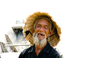 Old Man Fishing Framed Prints - Hoi An Fisherman Framed Print by David Smith