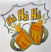 German Ale Drawings - Hoi Hoi Hoi by Jacqueline Athmann