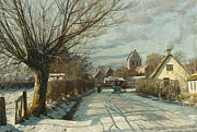 Danish Framed Prints - Hoje Taastrup Church Outside Copenhagen Framed Print by Peder Monsted