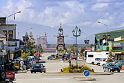 Town Clock Tower Posters - Hokitika Street Scene West Coast New Zealand Poster by Colin and Linda McKie