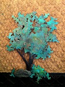 Bonsai Sculpture Posters - Hokkidachi Copper Bonsai Poster by Vanessa Williams