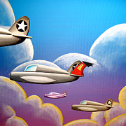 Plane Paintings - Hold On Tight by Cindy Thornton
