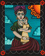 Mexican Art Painting Posters - Holding Diegito Poster by Victoria De Almeida