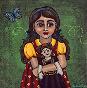 Little Girl Prints - Holding Frida Print by Victoria De Almeida
