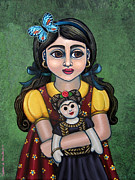 Little Girls Framed Prints - Holding Frida with Butterfly Framed Print by Victoria De Almeida