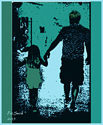 City Scenes Digital Art Metal Prints - Holding Hands Metal Print by Patricia Swink