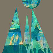 Triangles Digital Art Posters - Holding Up  The Sky Poster by Ann Powell