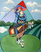 Cubism Mixed Media Posters - Hole In One Poster by Anthony Falbo