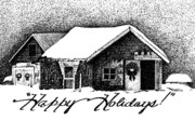 Pen And Ink Drawing Prints - Holiday Barn Print by Joy Bradley                   DiNardo Designs