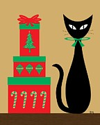 Packages Prints - Holiday Cat 2 Print by Donna Mibus