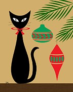 Retro Prints - Holiday Cat I Print by Donna Mibus
