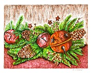 Pine Cones Drawings Prints - Holiday Centerpiece Print by Karen Sirard