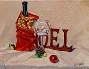 Wine Bottle Paintings - Holiday Cheer by Laura Lee Zanghetti