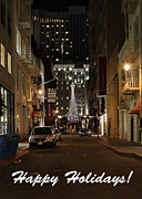 Union Square Prints - Holiday Christmas Card . Maiden Lane San Francisco Print by Wingsdomain Art and Photography