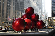 Skates Prints - Holiday decoration in NYC christmas bubls Print by Geri Scull