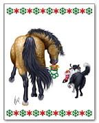 Collie Digital Art Posters - Holiday Friends Poster by Michelle Guillot