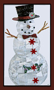 Frosty Mixed Media Posters - Holiday Frosty Card Poster by Debra     Vatalaro