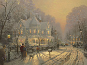 Snow Prints - Holiday Gathering Print by Thomas Kinkade
