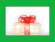 Holiday Glass Gift Box With Red Bow Print by Jo Ann Tomaselli