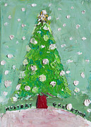 Pallet Knife Painting Prints - Holiday Greeting Print by Becky Kim