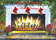 Winter Prints Drawings Posters - Holiday Greetings Fireplace Poster by Carol Wisniewski