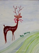 Rudolph Posters - Holiday greetings Poster by Sonali Gangane
