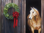 Country Life Painting Metal Prints - Holiday Horse 2013 Metal Print by Janet  Crawford