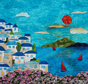 Bright Tapestries - Textiles Originals - Holiday In Greece by Maureen Wartski