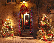 Quebec Mixed Media - Holiday in Quebec City - Rue du Petit Chaplain Lights by Alex Khomoutov