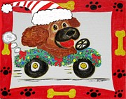 Santa Claus Paintings - Holiday Joy Ride by Diane Pape