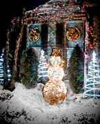 Snow Scene Mixed Media Prints - Holiday Light Display Print by Kelly Schutz